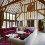 Vaulted living area of converted barn