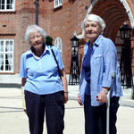 picture of two women outside heath hall